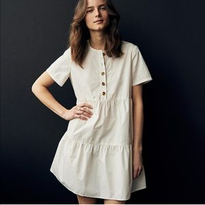 New Button-Front Short-Sleeve Tiered Mini Dress